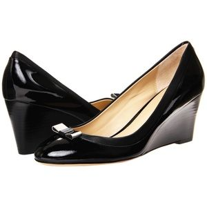 Coach Black Hillaree Front Bow High Wedges